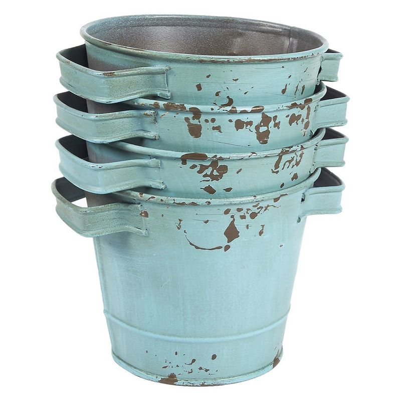 4-Set Galvanized Planter Garden Buckets with Handles for Planting, Decoration