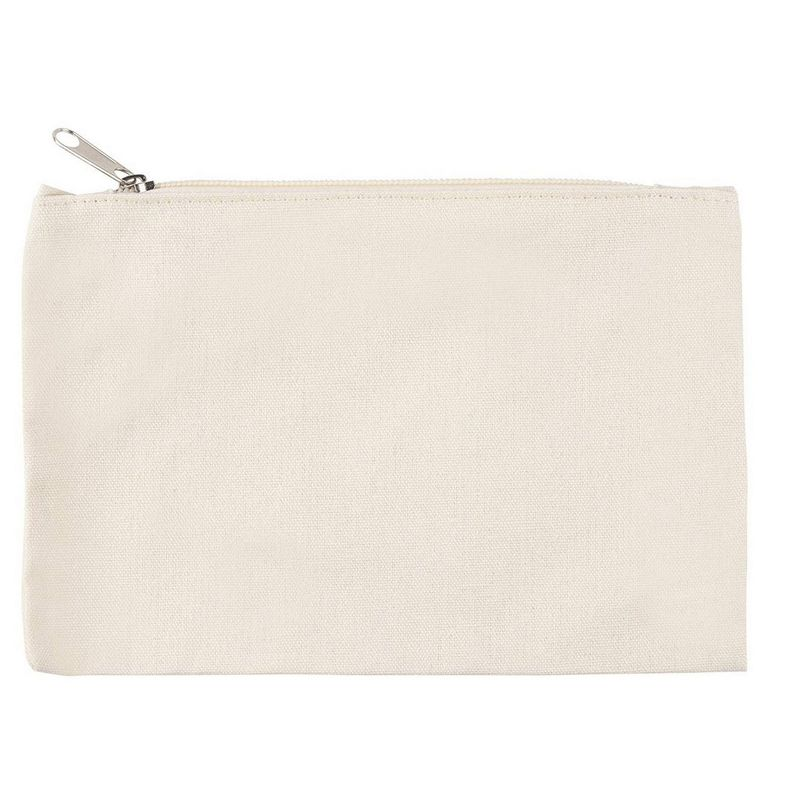 Juvale DIY Blank Cosmetic Make Up Toiletry Zipper Bag (12 Pack) Cotton Canvas, 8 x 6 Inches