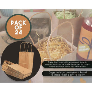 Brown Kraft Bag, Birthday Party Gift Favor Bag Set - 24 Count - Small