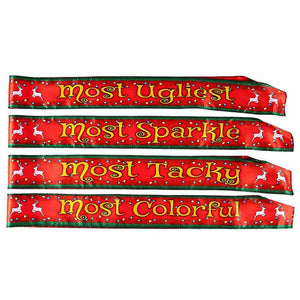Funny Christmas Sashes - 4-Pack Polyester Sash with Most Ugliest, Sparkle, Tacky, Colorful Awards, Perfect Novelty Gift Prizes, Home or Office Christmas Party Supplies