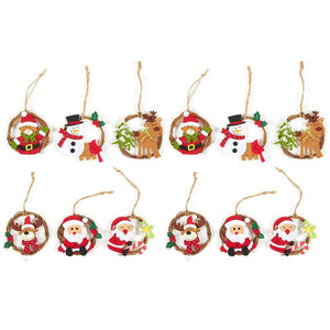 Juvale 12-Pack of Christmas Tree Decorations - Miniature Christmas Decoration Ornaments, Festive Embellishments in 6 Assorted Designs