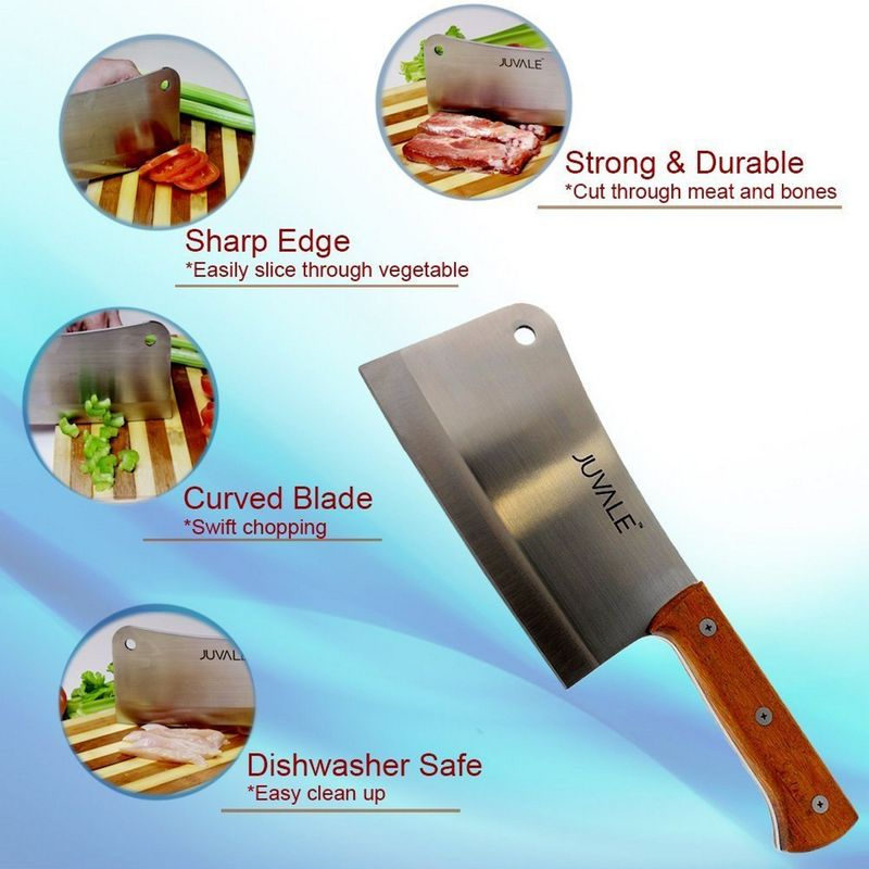 Meat Cleaver, Heavy Duty Knife with Solid Wood Handle (Stainless Steel, 8-In)