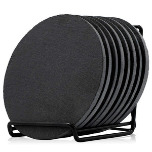 Round Slate Coasters with Rack (9 Pieces)