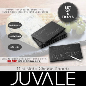 Slate Cheese Boards - 6 Piece Charcuterie Plates, Cheese and Meat Serving Board for Home, Restaurant, Cafe Use, 3 Chalks Included, 7.9 x 0.25 x 11.75 Inches