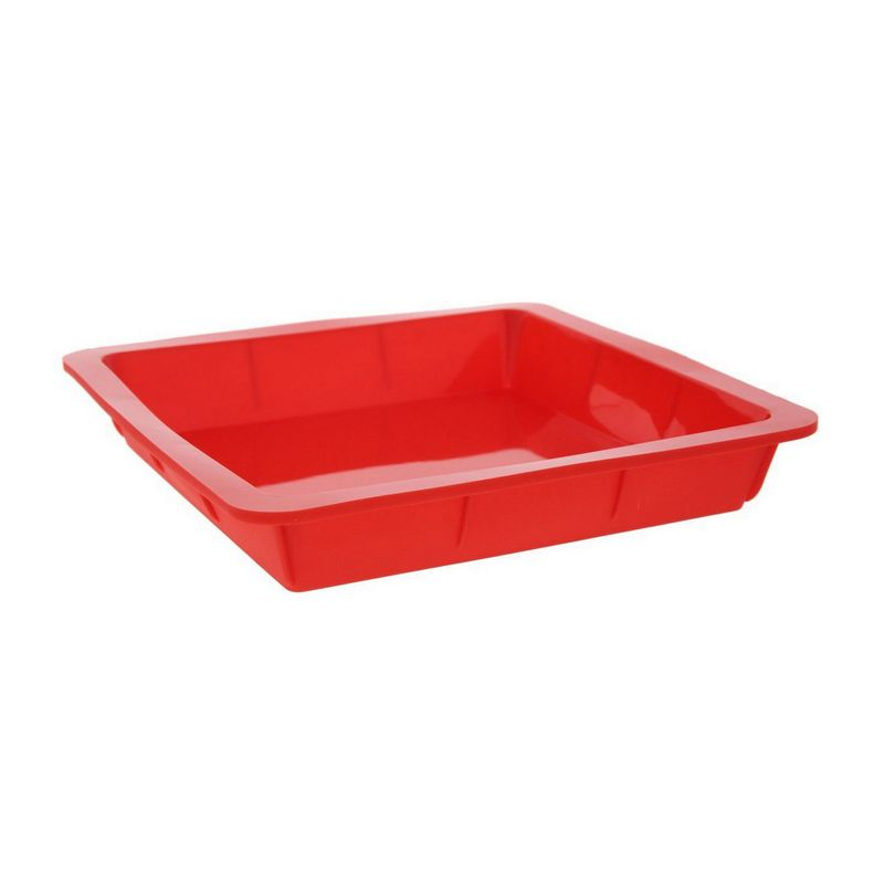 "4 Piece Bakeware Set, Molds, Nonstick Silicone with Pans, Red, 10.5"", 9.5"", 10"""