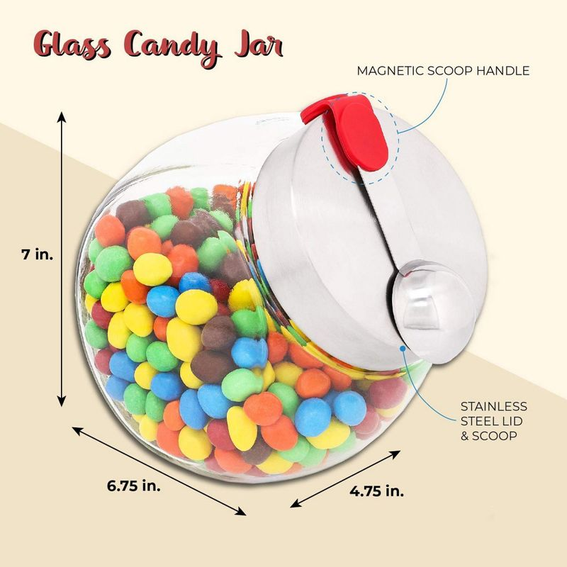 58 Ounce Glass Penny Jar with Scoop for Candy, Dry Goods, and Food Storage