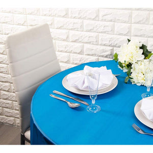Round Plastic Party Tablecloth for up to 72-Inch Table (Blue, 84-Inch, 12-Pack)