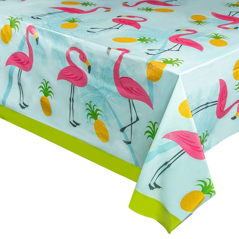 Juvale 3-Pack Flamingo Plastic Tablecloth - Rectangle 54 x 108 Inch Disposable Cover, Fits Up to 8-Foot Long Tables, Tropical Summer, Luau Themed Party Supplies, 4.5 x 9 Feet