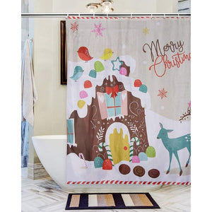 Juvale Christmas Shower Curtain with Hooks - Mildew Resistant Holiday Themed Shower Curtain, Large Decorative Bathroom Accessory, Polyester Fabric, Gingerbread House Design, Light Tan, 71 Inches