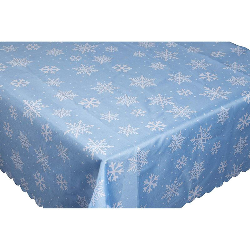 Juvale Christmas Tablecloth - 2-Pack Rectangle Table Cloth, Festive Holiday Party Decoration Supplies, White Snowflakes Design Scalloped Table Cover, Light Blue Color, 84 x 54 Inches