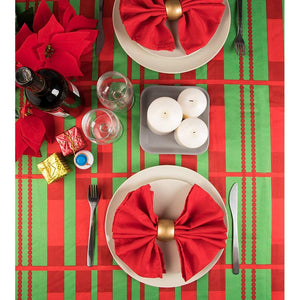 Christmas Tablecloth with Scalloped Edges for Holiday Party (84 x 54 in, 2 Pack)