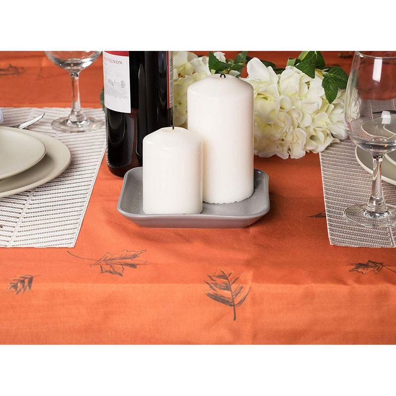 Juvale Thanksgiving Party Tablecloth - Rectangle Table Cloth, Fall Themed Party Decoration Supplies, Pumpkin and Leaves Design Scalloped Table Cover, Copper Orange Color, 83 x 59 Inches