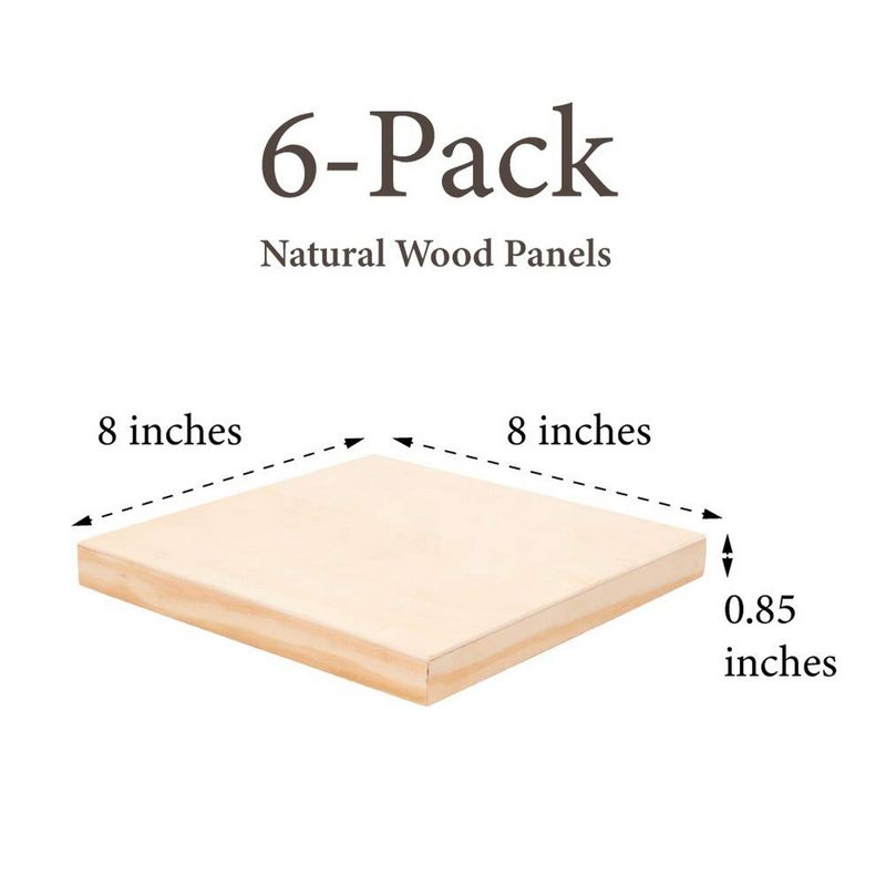 Juvale 6-Pack 8x8 Unfinished Wood Canvas Cradled Panel Boards for Painting, Drawing, Arts & Crafts