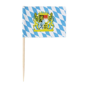 Oktoberfest Cocktail Picks - 200-Pack Disposable Bavarian Flag Cupcake Topper Decoration, Theme Party Bamboo Toothpicks, Blue and White, 2.6 x 1.6 Inches