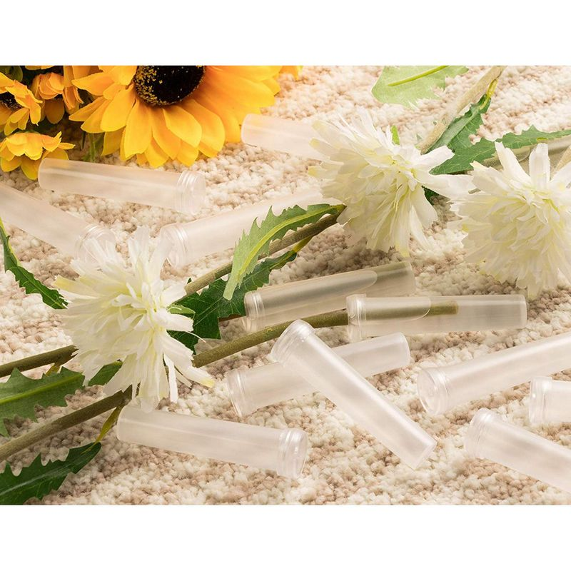 Floral Tube - 100-Pack Flower Tube, Flower Vials, Floral Water Tube for Flower Arrangements, Clear Plastic, 0.6 x 0.6 x 2.8 Inches, Opening 3mm