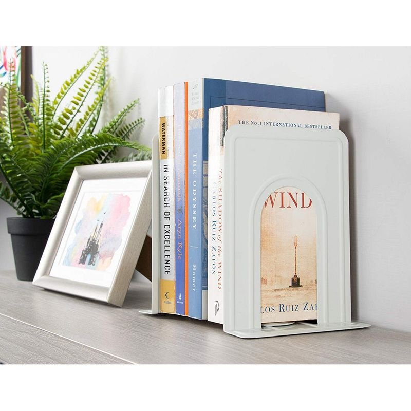 "6 Pairs - Nonskid Heavy Duty Metal Bookends Books Holder White 5"" x 6.6"" x 5.8"""