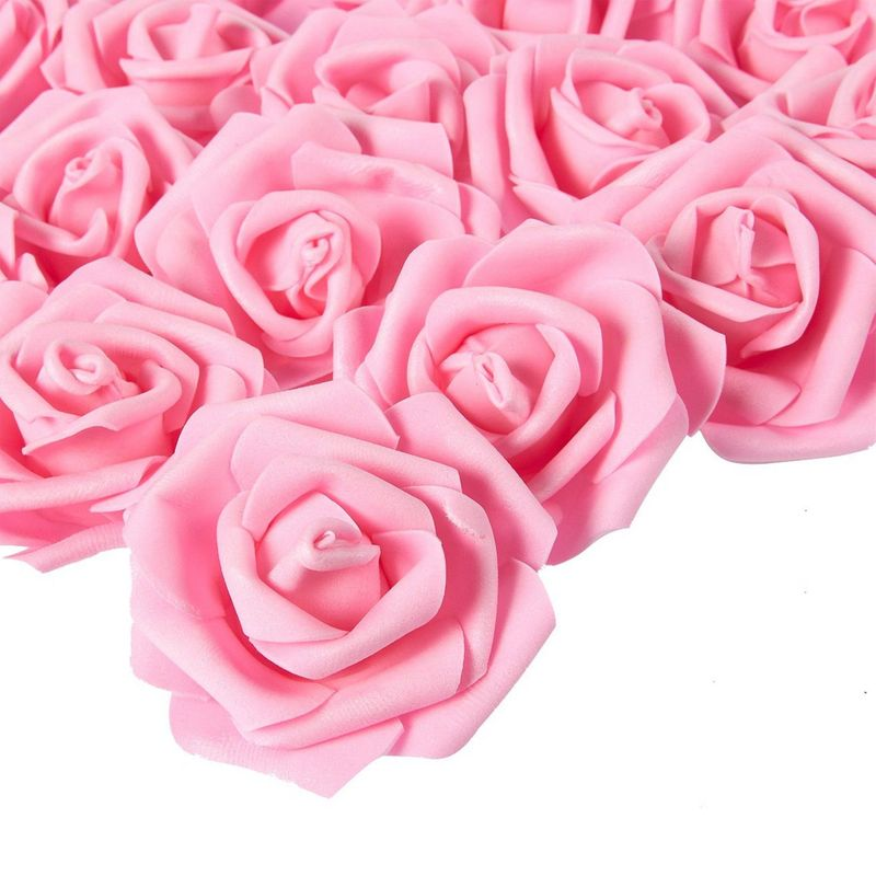 Juvale Rose Flower Heads - 100-Pack Artificial Roses, Perfect Wedding Decorations, Baby Showers, Crafts - Pink, 3 x 1.25 x 3 inches