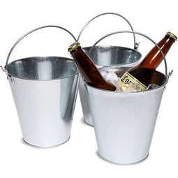 3-Pack Galvanized Metal Ice Bucket Pails for Beer, Drinks, Party Decorations, 7""