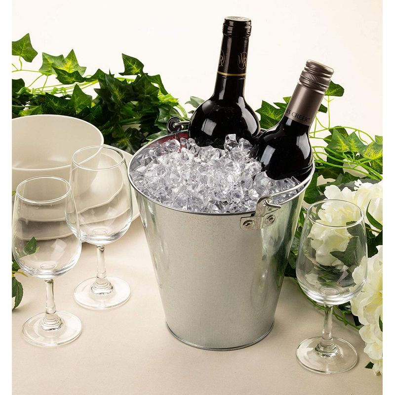 Round Galvanized Buckets - 6-Pack Steel Buckets with Handle for Beer and Drinks, Table Centerpiece Party Supplies, 100-Ounce, Silver, 7 x 7 Inches