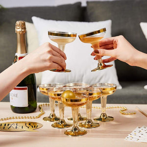 Juvale 20-Piece Set Party Champagne Beer Pong Drinking Game, 12 Gold Foil Glasses and 8 Balls