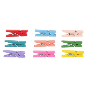Mini Wooden Clothespins - 300-Piece Wood Clothes Pins Photo Pegs Set - Colorful Small Laundry Clothespin Clothes Clip with Springs for Art Projects, DIY Crafts - Multicolored, 1 x 0.25 x 0.125 Inches