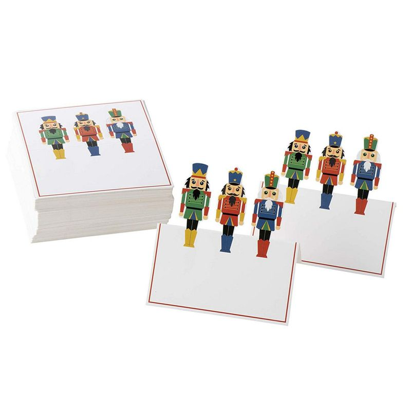 Juvale Christmas Table Place Cards - 100-Pack Paper Tent Cards with Nutcracker Soldier Die Cut Design, Holiday Festive Colorful Dining Table Decoration and Party Supplies, White, 2 x 3.5 Inches