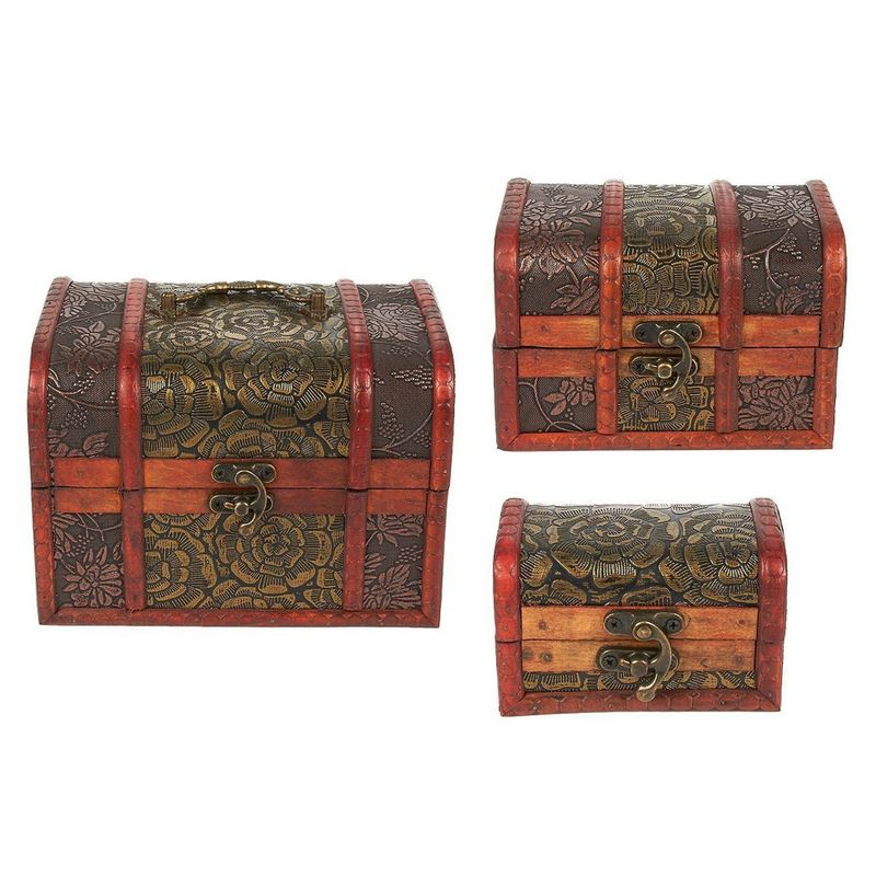 3 Piece Wooden Treasure Box - Keepsake Box - Treasure Chest with Flower Motif for Jewelry