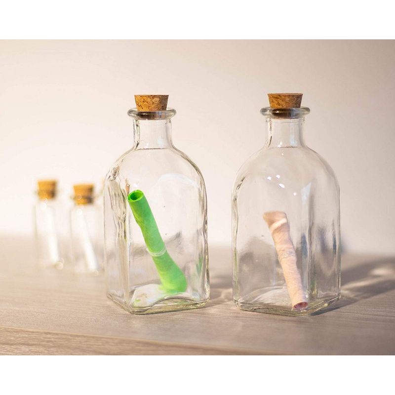 Clear Glass Bottles with Cork Lids- 12 Pack of Small Transparent Jars, 4.75x2x2""