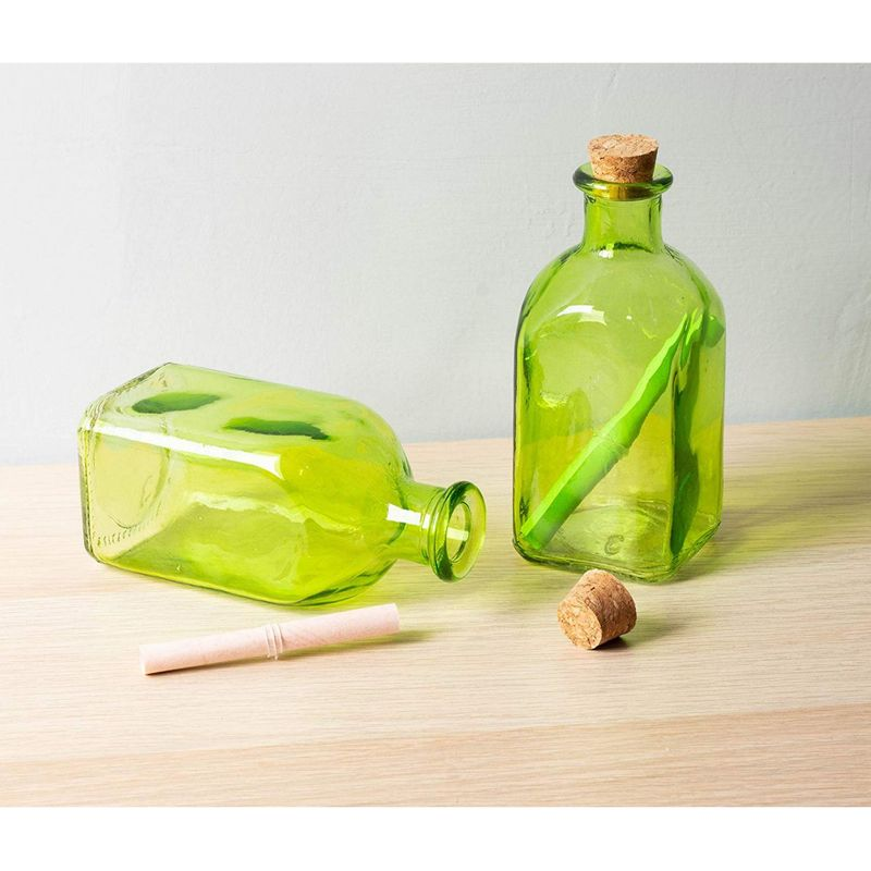 Clear Glass Bottles Cork Lids- 12 Pack Small Green Transparent Jars, 4.75x2x2""
