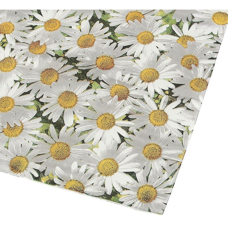 100 Pack Decorative Dinner Napkins - Disposable Paper Party Napkins with White Daisy Flower Design, Perfect for Anniversary and Shower Decorations, Birthday Party Supplies, 6.5 x 6.5 Inches, Greenery