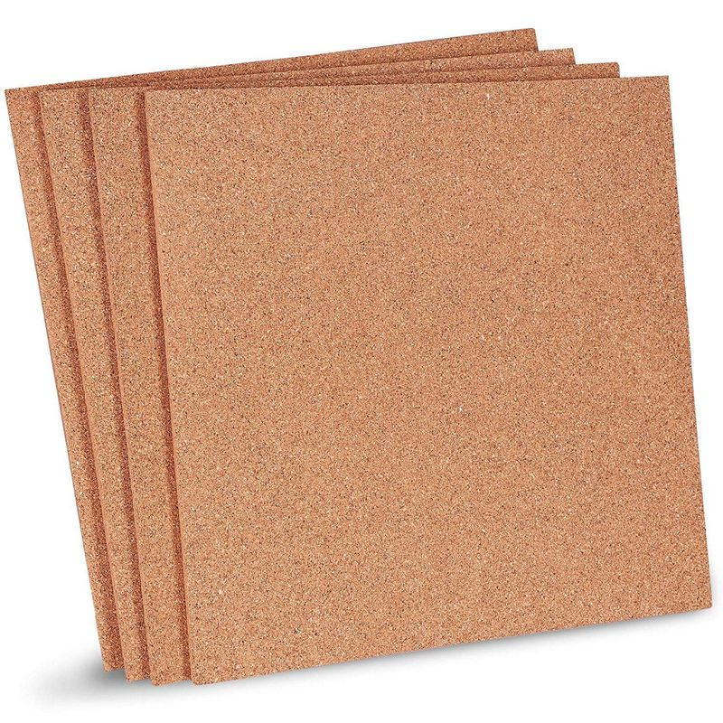4-Pack Natural Cork Tile Boards, Frameless Mini Wall Bulletin Boards (12 x 12 Inches)