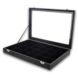 Jewelry Display Case with Velvet Tray (Black, 14 x 9.5 x 2 Inches)