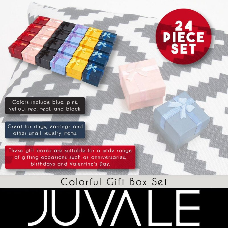 24-Piece Gift Box Set - Cube Ring Jewelry Box for Anniversaries, Weddings, Birthdays, Assorted Colors - 1.6 x 1.6 x 1.2 Inches