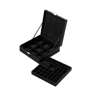 Two Layer Jewelry Box Organizer Display Storage Case with Lock & Key - Velvety Smooth Texture - Removable Tray - Compact - Ample Storage Space - Black - 10.5 x 10.5 x 3.5 Inches