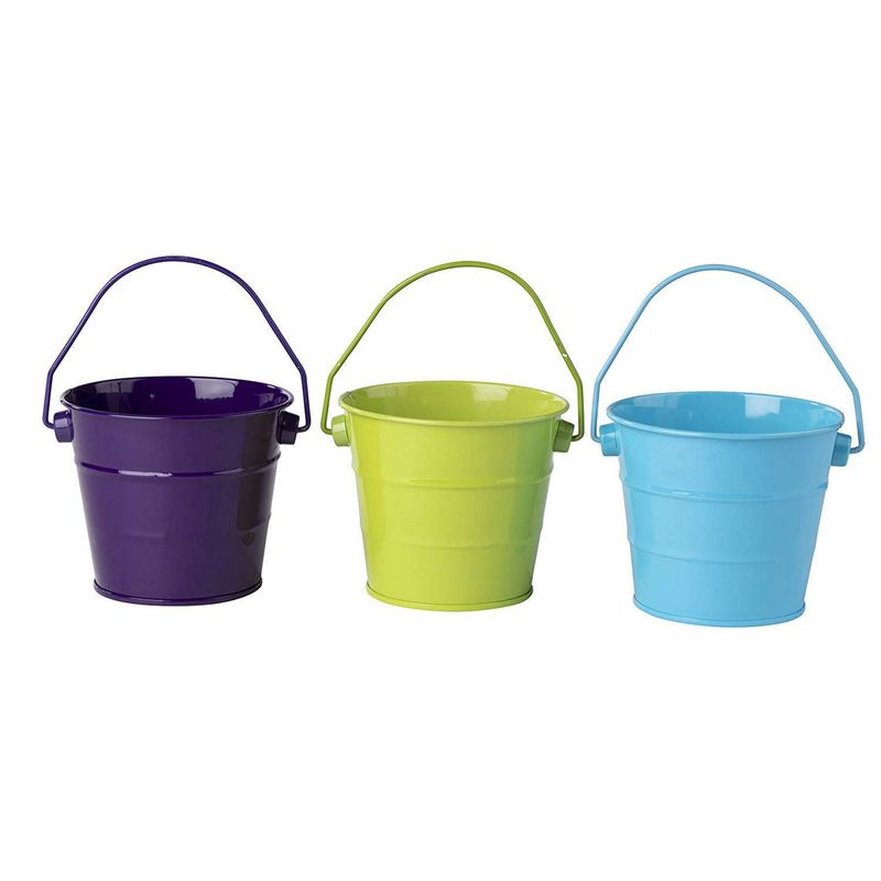 Mini Metal Buckets, Pails with Handles for Party Favors, Easter (6-Pack)