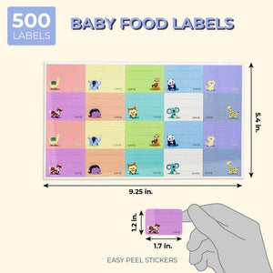 "500-Pack Removable Daycare Labels, For Baby Food, 10 Animal Designs, 1.5"" x 1"""