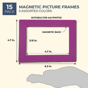 15-Pack Magnetic Picture Frames for Refrigerator, 5 Assorted Colors, 4x6 Photos