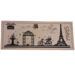 "Front Door Mat – Welcome Mat Outdoor Indoor, 16"" x 40"" Rustic Doormat Carpet, Floor Entry Mat Rug - Eiffel Tower & Paris Style Design, Brown & Black"
