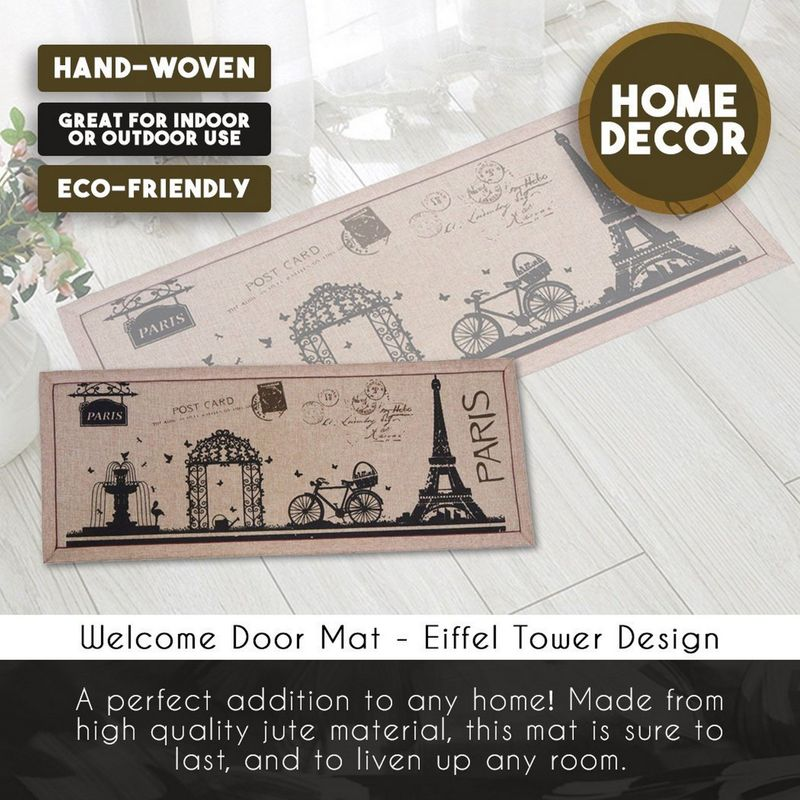 Front Entry Door Mat - Welcome Rug, Rustic Doormat, Paris Decorfor Home, Front Door, Office, Hallway - Eiffel Tower and Paris Style Design - Brown and Black, 16 x 40 Inches