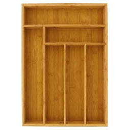 Large Silverware Drawer Organizer, Bamboo-Like Drawer Divider (17 x 12 x 2 In)
