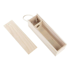 Wooden Wine Box - 2-Pack Single Wine Bottle Wood Storage Gift Box with Handle for Birthday Party, Housewarming, Wedding, Anniversary, 13.875 x 3.875 x 4 Inches