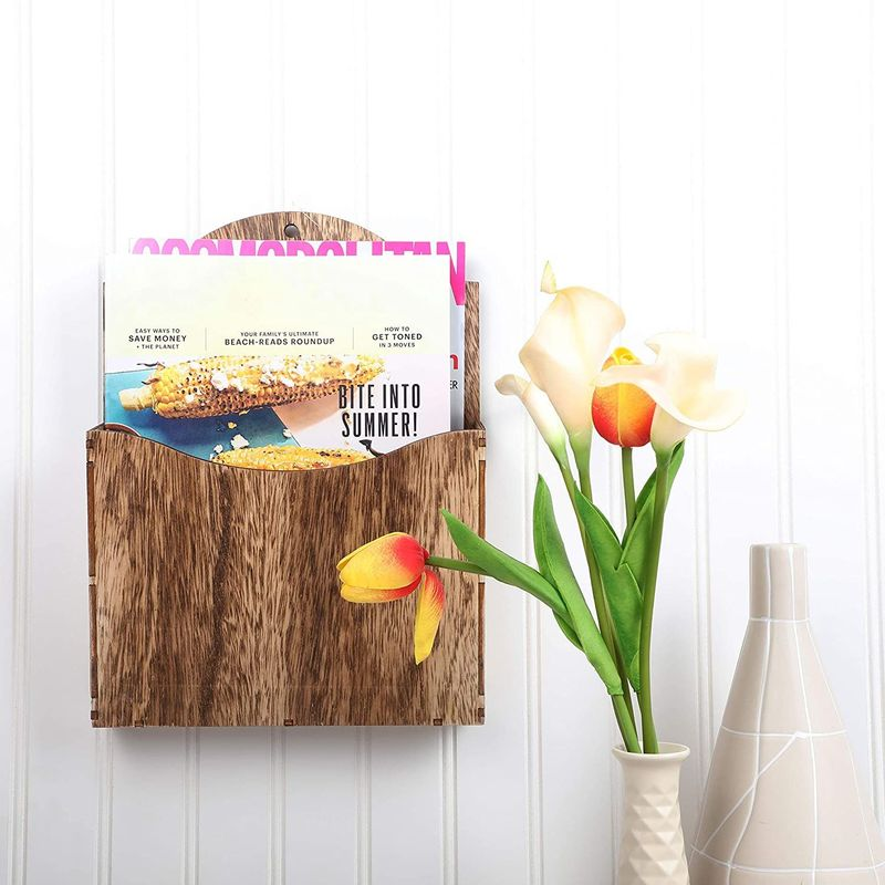 Juvale Wooden Magazine Holder, Wall Mounted Organizer (8.7 x 11.6 x 2 Inches)