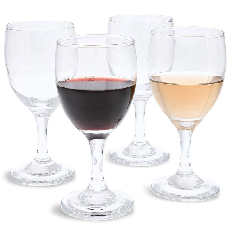 Juvale Set of 4 Small Clear Glass Stemmed Wine Glasses, 4.5 Ounces
