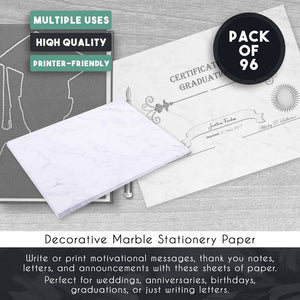"96-Pack Marble Stationery Paper,Double Sided Decorative Design Paper, 8.5"" x 11"""