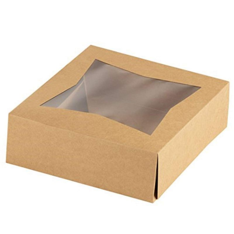 Kraft Paperboard Popup Window Box - Pack of 10 Brown Kraft Paperboard Pop-Up Window Box, Pastry & Cake Bakery Boxes with Plastic Window, 8 x 8 x 2.5 Inches