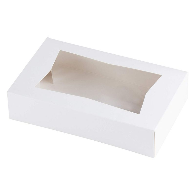 "10 White Paperboard Pop-Up Window Box, Pastry & Cake Bakery Boxes, 8""x5.5""x2"""