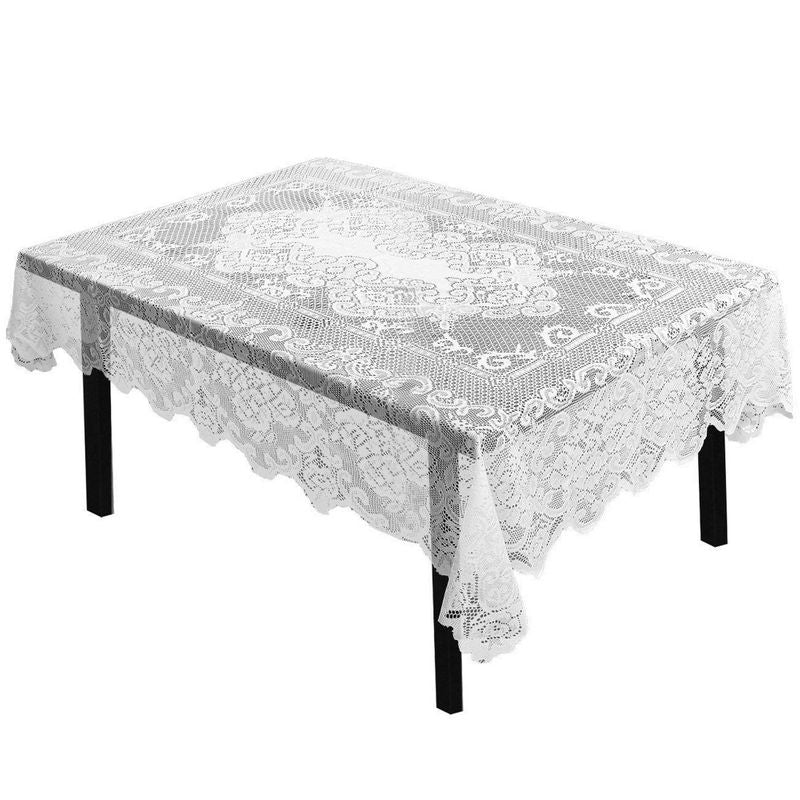 "White Floral Lace Rectangular Tablecloth for Wedding Party Banquet 54"" x 71"""