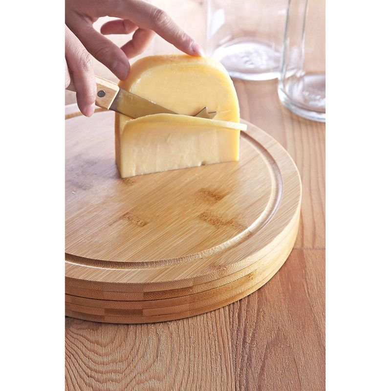Cheese Board Set Charcuterie Meat Board - Bamboo Cutting Board & 4 Knife Tools