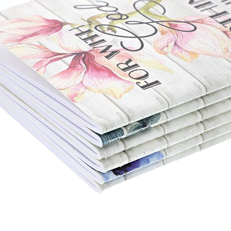 "6 Pack Floral Design Bible Verses Notebook Journals 40 sheet/80 lined page 5""x8"""