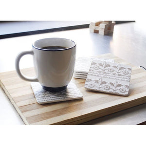 Wood Coasters Set - 6 Pack Elegant Drink and Table Coaster Set with Holder - White Floral Print Shabby Chic Design, Protects Furniture from Stains & Scratches, 3.8 x 0.12 x 3.8 Inches